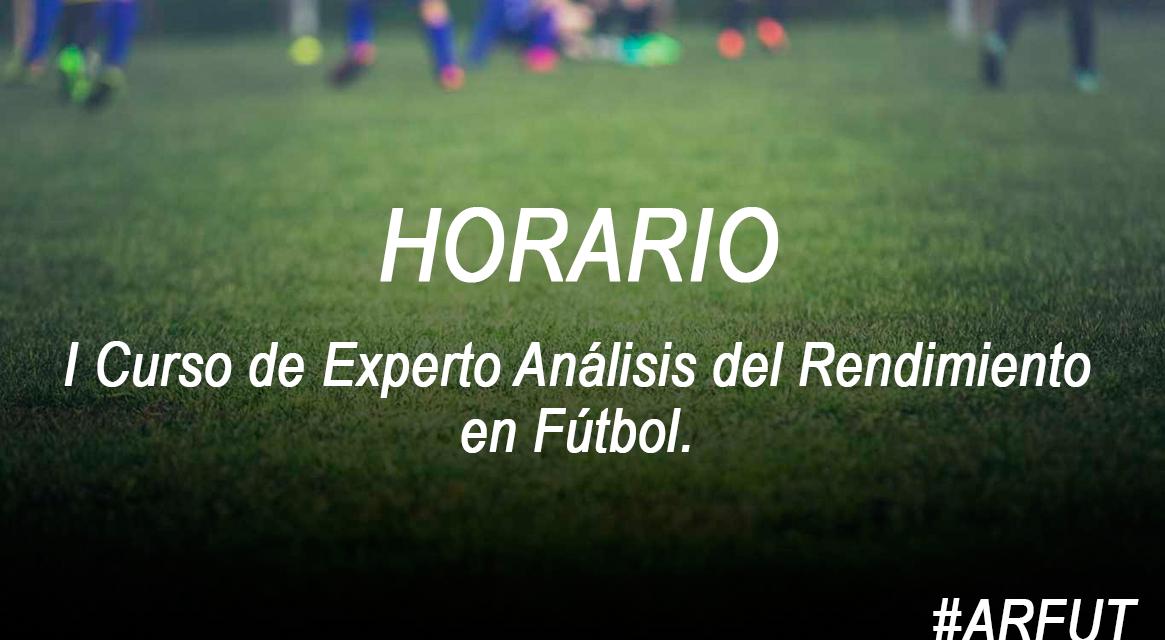 Horario de la Jornada 4 Curso Experto Análisis del Rendimiento en Fútbol