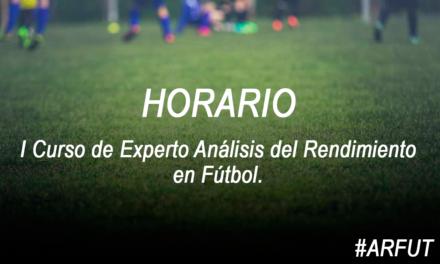 Horario de la Jornada 2 Curso Experto Análisis del Rendimiento en Fútbol