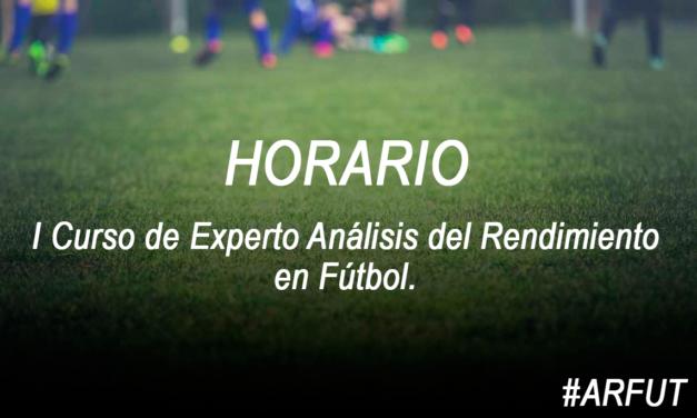 Horario de la Jornada 7 Curso Experto Análisis del Rendimiento en Fútbol