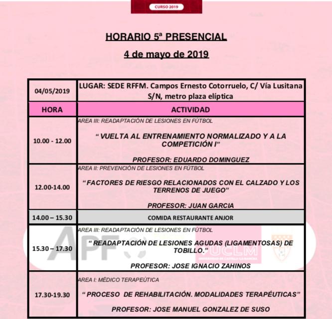 Horario Jornada 5 del VIII Máster PRL