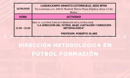 Horario Jornada 8 del I Curso Metodología Fútbol Formación