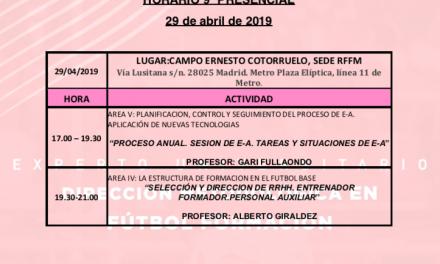 Horario Jornada 9 del I Curso Metodología Fútbol Formación
