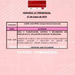 Horario Jornada 12 del I Curso Metodología Fútbol Formación