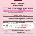 Horario Jornada 8 del VIII Máster PRL