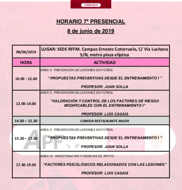 Horario Jornada 7 del VIII Máster PRL
