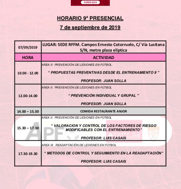 Horario Jornada 9 del VIII Máster PRL