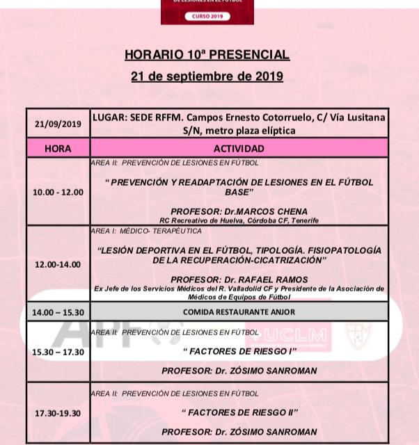 Horario Jornada 10 del VIII Máster PRL