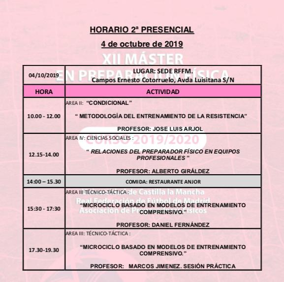 Horario Jornada 2 del XII Máster PF