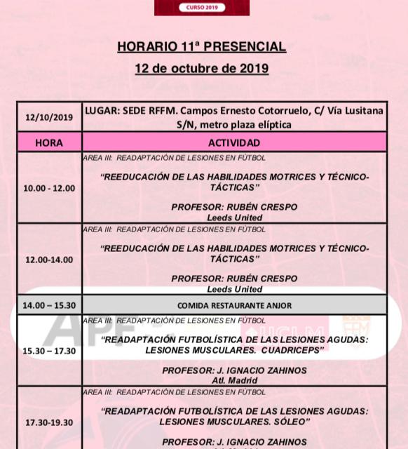 Horario Jornada 11 del VIII Máster PRL