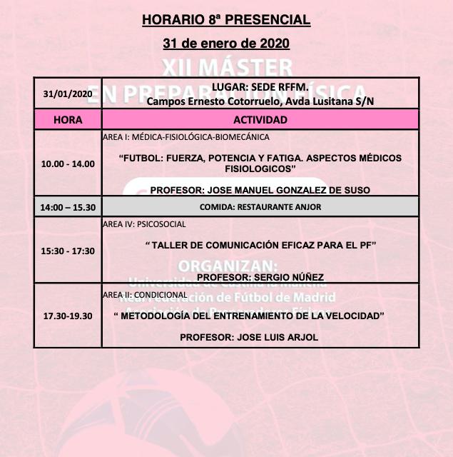 Horario Jornada 8 del XII Máster PF