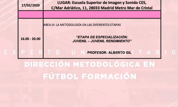Horario Jornada 4 del II Curso en Dirección Metodológica en Fútbol Formación