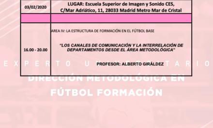 Horario Jornada 3 del II Curso en Dirección Metodológica en Fútbol Formación