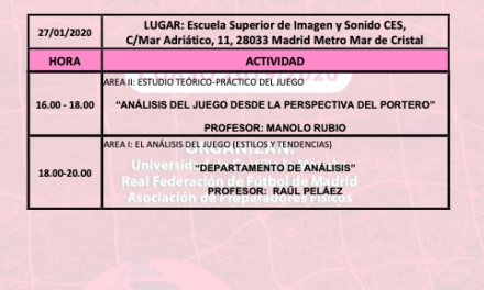 Horario Jornada 5 del III Curso Análisis del Juego
