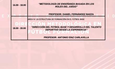 Horario Jornada 6 del II Curso en Dirección Metodológica en Fútbol Formación