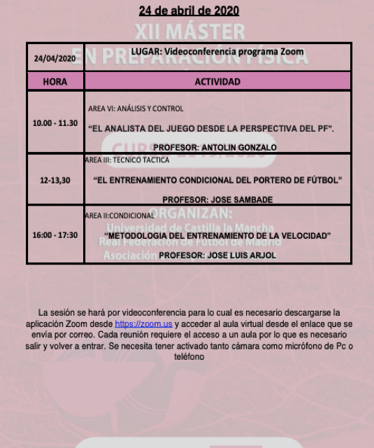 Horario Jornada 12 (BIS) del XII Máster PF