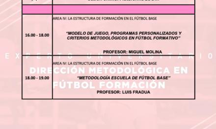 Horario Jornada 7 del II Curso en Dirección Metodológica en Fútbol Formación