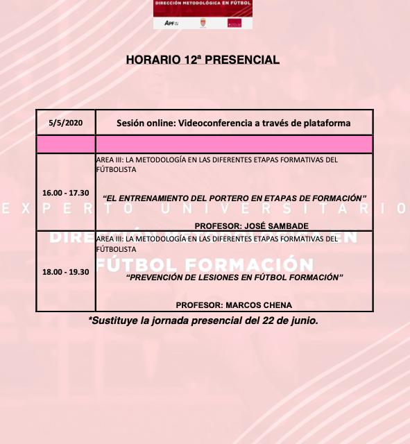 Horario Jornada 12 del II Curso en Dirección Metodológica en Fútbol Formación
