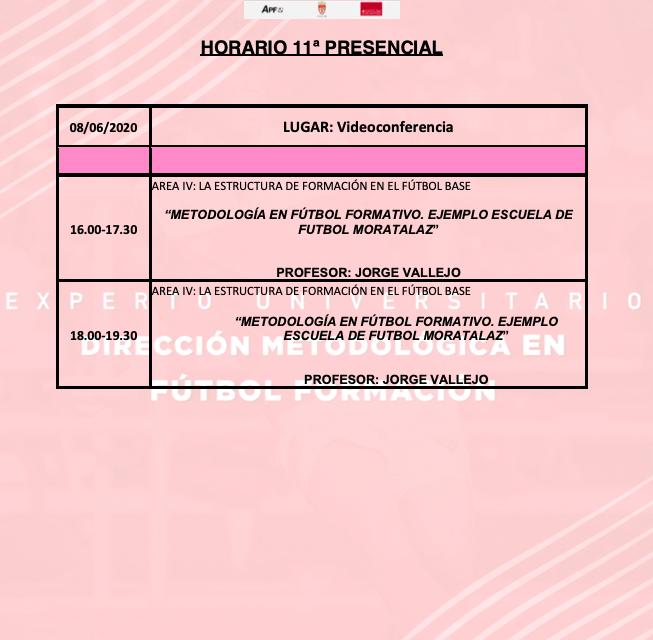 Horario Jornada 11 del II Curso en Dirección Metodológica en Fútbol Formación