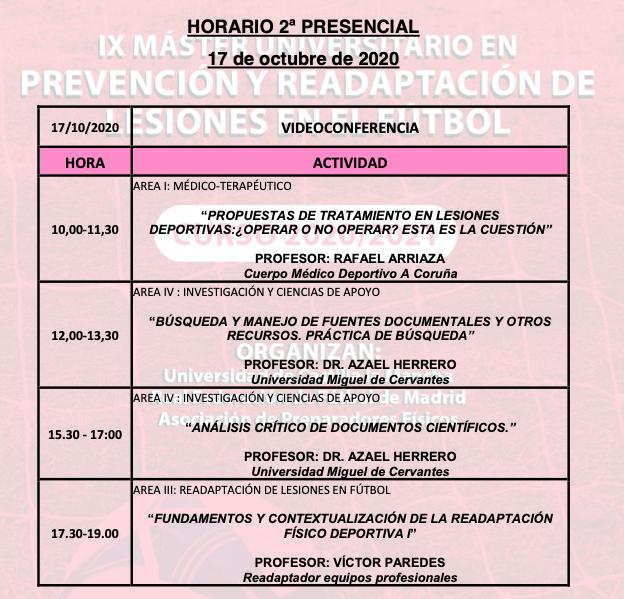 Horario Jornada 2 – IX Máster PRL
