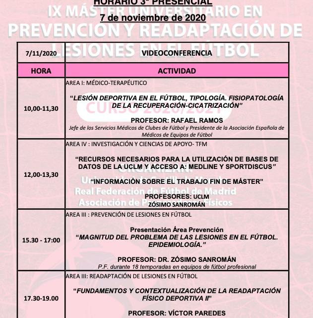 Horario Jornada 3 – IX Máster PRL