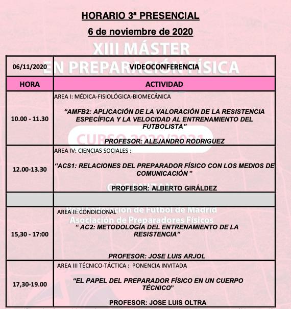 Horario Jornada 3 – XIII Máster PF