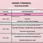 Horario Jornada 1 – I Curso Especialista en Entrenamiento en Fuerza