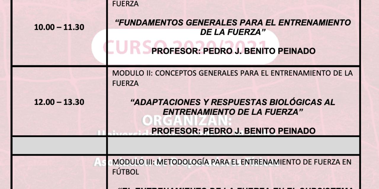 Horario Jornada 2 – I Curso Especialista en Entrenamiento de Fuerza