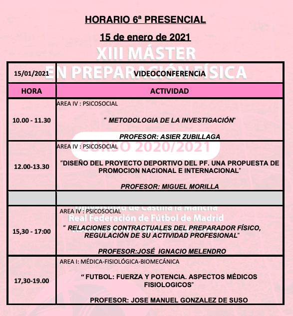 Horario Jornada 6 – XIII Máster PF
