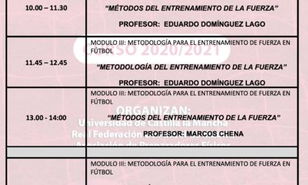 Horario Jornada 3 – I Curso Especialista en Entrenamiento de Fuerza