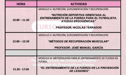Horario Jornada 5 – I Curso Especialista en Entrenamiento de Fuerza