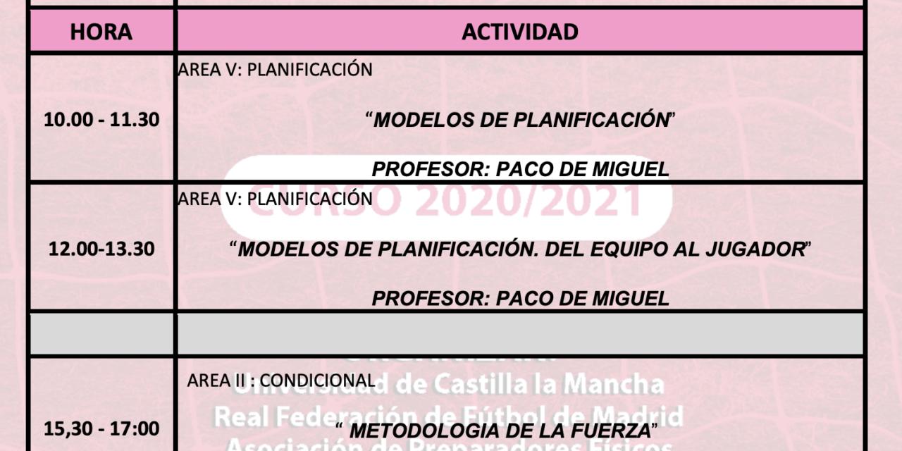 Horario Jornada 10 – XIII Máster PF
