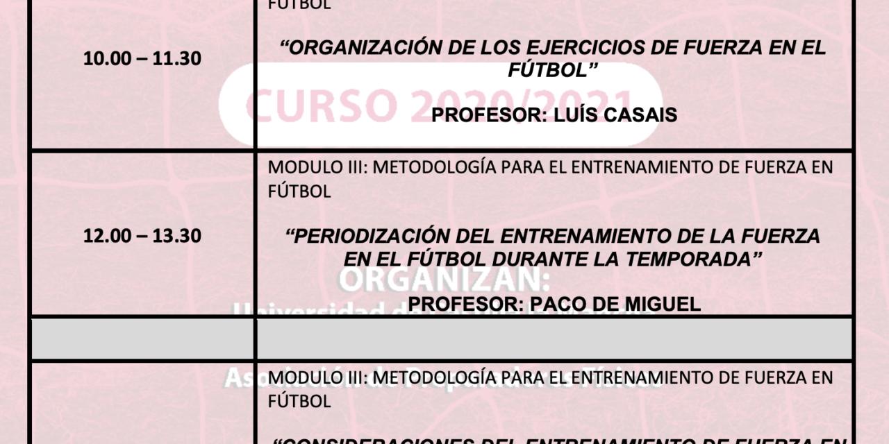 Horario Jornada 4 – I Curso Especialista en Entrenamiento de Fuerza