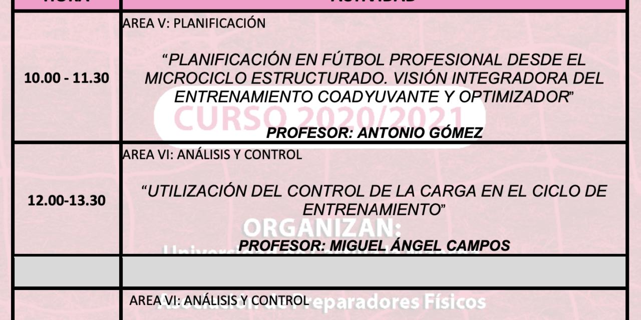 Horario Jornada 12 – XIII Máster PF