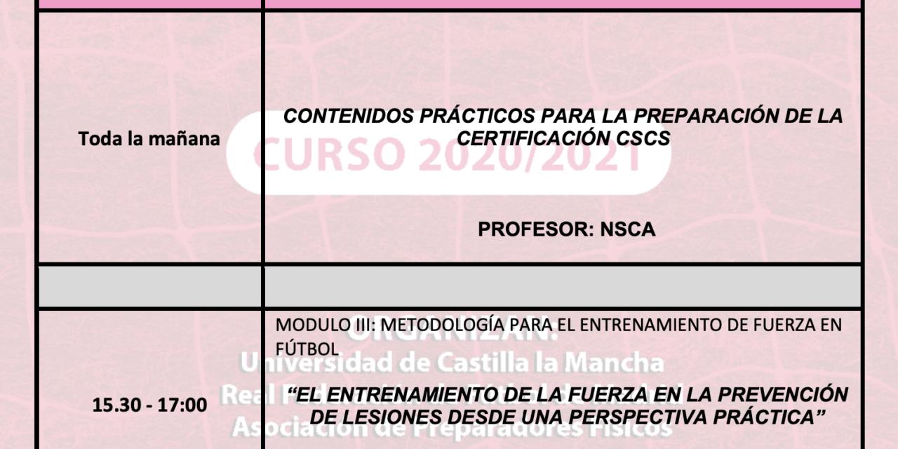 Horario Jornada 7 – I Curso Especialista en Entrenamiento de la Fuerza
