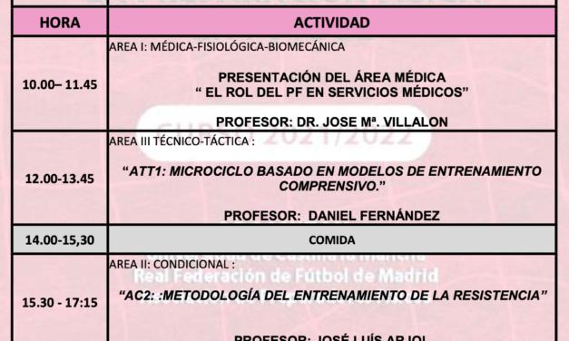 Horario Jornada 2 – XIV Máster PF