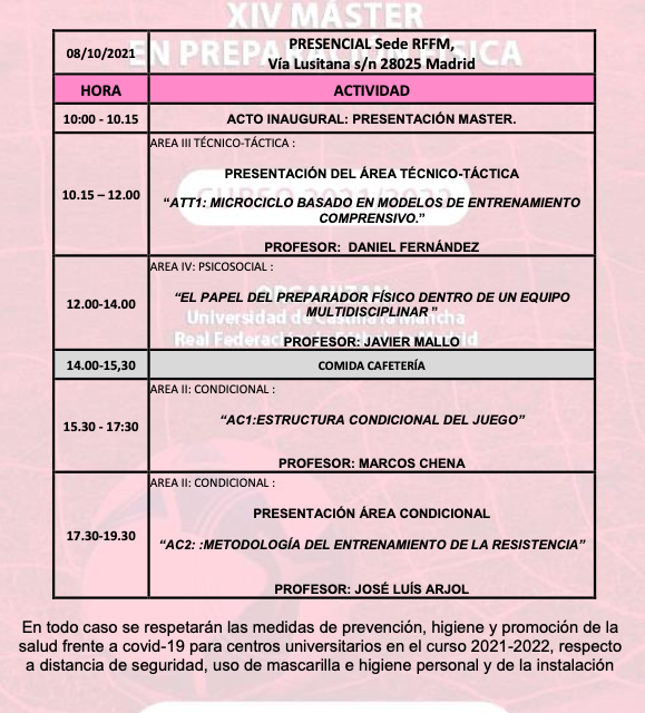 Horario Jornada 1 – XIV Máster PF